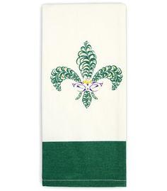 Fleur de lis mask kitchen towel