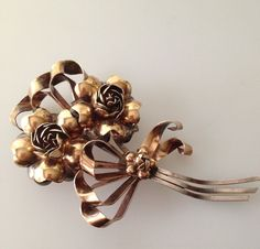 1940s Vintage HOBE Brooch Pin STERLING & 1/20 14K Large pin Floral Bouquet w Bow #Hobe