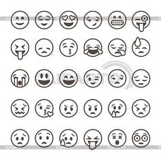 Set of thirty hand drawn emoticons or smileys each with a