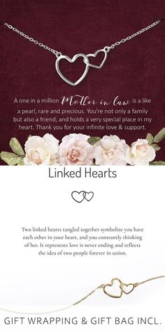 #connectedhearts #necklace #jewelry #handmade #motherinlaw #mil Mother Of The Groom Necklaces, Mother Of The Bride Jewelry, Mother Of The Groom Gifts, Gifts For Your Sister, Mother In Law Gifts, Sister Gifts, Romantic Gifts For Wife, Wedding Gifts For Bride, Cousin Birthday Gifts