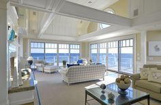 Family Rooms - traditional - family room - boston - Jan Gleysteen Architects, Inc Beach Cottage Style, Beach House Decor, Coastal Living Rooms, My Living Room, Coastal Homes, Luxury Interior Design, Home Interior, Interior Livingroom, Interior Decorating