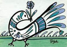 Bird Art Deco Bird ACEO mini print by Jessica Doyle on Etsy  -- So cute!