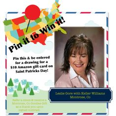 Leslie's Blog on the Front Porch: Pin it to Win it! Pin it to Win it - PIN this to be entered in a raffel for a $10 GC to Amazon! Refer a client and get a Montrose, CO goodies basket upon contract signing!    http://www.lesliegorerealtor.com/atj/user/HomePageGetAction.do