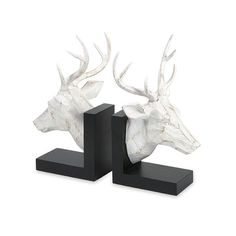 IMAX Joseph Deer Bookends - Set of 2 - The Joseph deer bookends make the perfect office gift for the avid outdoorsman, bringing a touch of the woodlands life they love into their every day. Faux Deer Head, Stag Head, Deer Heads, Decorative Objects, Decorative Accessories, Lodge Style Decorating, Dot And Bo, Home Living, Living Room