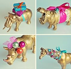 Chinoiserie Chic: Painted and embellished plastic animals as Christmas ornaments.