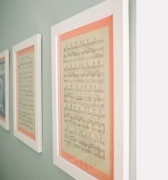 framed lullaby's for a baby's room...now why didn't I think of that? favorite song - wedding song perhaps?