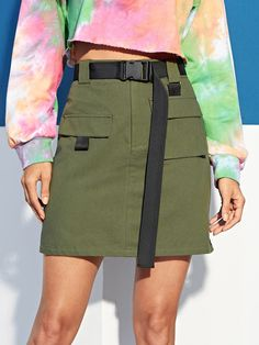 To find out about the Pocket Patched Ribbon Detail Skirt at SHEIN, part of our latest Skirts ready to shop online today! Blouse Dress, Dress Skirt, Women's Dresses, Merian, Casual Belt, Sierra Leone, Skirt Fashion, Jamaica, Fashion News
