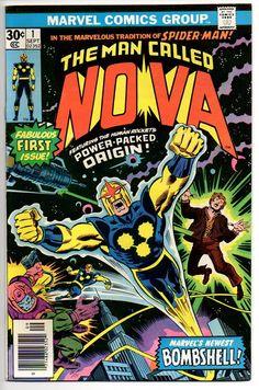 Vintage 1976 Marvel Comics NOVA The Human Rocket 1 bronze age comic book, with origin & 1st appearance of Nova, in fine/fn condition, 1970's, John Buscema art!