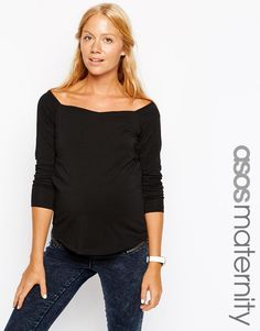 ASOS Maternity | ASOS Maternity Bardot Top With Long Sleeves at ASOS