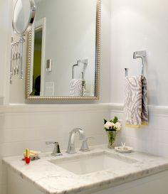 "Master Bath redo: Delta ""Dryden"" faucet and fixtures,  Floor, vanity & shower area- all Carrara marble  Paint- SW 7661 Reflection"