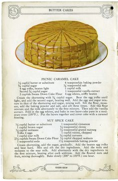 """did a post on February 2011 entitled """" Swans Down Vintage Recipe s"""" which was about an old cookbook that contained lovely illustratio. Cookbook Recipes, Baking Recipes, Cake Recipes, Dessert Recipes, Just Desserts, Delicious Desserts, Yummy Food, Retro Recipes, Vintage Recipes"""