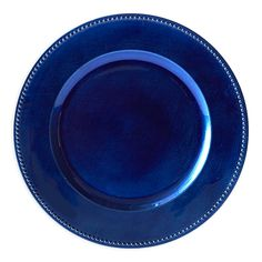 Set your table with the simple sophistication found in this set of 6 Beaded Charger Plates. Made of plastic with a lacquered top layer, these plates feature a beaded texture around the edge to add visual interest to each table setting. Glass Dining Table, A Table, Dining Room, Blue Table Settings, Banquet Centerpieces, Christmas Dinnerware, Denim And Diamonds, Royal Baby Showers, Thanksgiving Table Settings