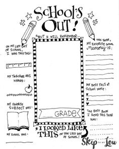 An End of School Memory Printable is a great way to record the school year and makes a wonderful keepsake. Children even can draw a self portrait! Too Cute! MichaelsMakers Skip To My Lou