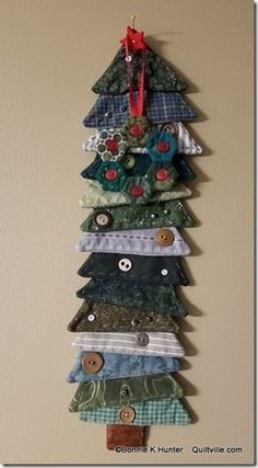 memory tree made from shirt cuffs and collars; This is a great idea that can be made from a loved one's clothes and displayed during the holidays to keep a sense of the loved on being close. Could be used for any age, especially teens or young adults. Christmas Sewing, Noel Christmas, Handmade Christmas, Christmas Ornaments, Christmas Quilting, Fabric Christmas Trees, Quilted Ornaments, Purple Christmas, Christmas Clothes