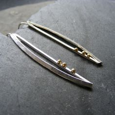Long Drop Earrings in Sterling Silver Modernist Design with 18K Gold Hall Marked £45.00