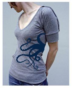Tentacles Womens Short Sleeve Hoodie. $28.00, via Etsy.