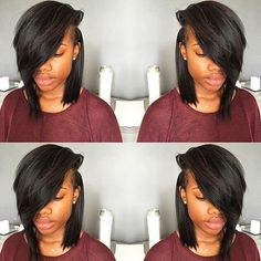 http://www.shorthaircutsforblackwomen.com/dafni-brush-that-straightens-hair-works-too-expensive/ STYLIST FEATURE - Love this natural hair bob . That deep side part is super sexy, straightened natural hairstyles.