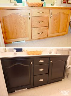 Give Your Old Bathroom Cabinets A Facelift!   One Good Thing by Jillee