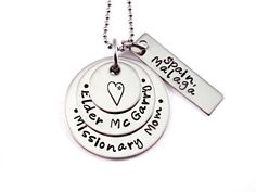 For @antoinettetaft  Personalized Missionary Mom Necklace - Hand Stamped Stainless Steel Missionary Necklace - Mission Calling - LDS - Called To Serve