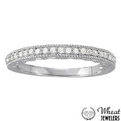Prong Set Wedding Band with Milgrain Detail available at Wheat Jewelers