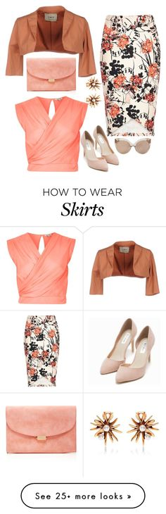 """""""Floral skirt"""" by ladygroovenyc on Polyvore featuring River Island, Aniye By, Linda Farrow, Mansur Gavriel, Nly Shoes and Oscar de la Renta"""