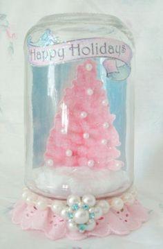 Pink Christmas Tree Waterless Snow Globe Idea..