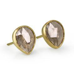 18 Karat Yellow Gold Post Earrings with a Bezel-Set Pear-Shaped Rose-Cut Grey Diamond