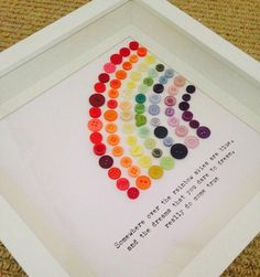 """Somewhere Over The Rainbow"" framed Button Rainbow £12.00"