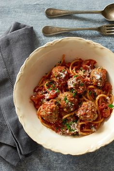 Spaghetti and Drop Meatballs With Tomato Sauce by Mark Bittman