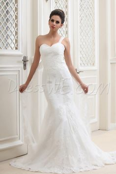 $173.79 Dresswe.com SUPPLIES Glamorous Mermaid/Trumpet Floor-Length One-Shoulder Cathedral Taline's Lace Wedding Dress