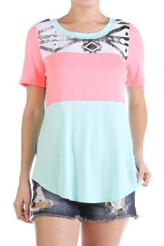 Mint and Pink Coral Tribal Tee - The Coveted Closet