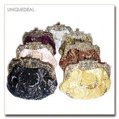 *New* Vintage Bronze Beaded Rose Flower Pattern Evening Handbag Purse Clutch