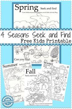 4 Seasons Seek and Finds {Free Printable!}