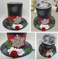 Snowman Hat made from empty Maxwell House coffee can. Made the base with cardboard and cardstock. traced a dish and hot glue.snowman hat coffee can Elegant Christmas, Simple Christmas, Christmas Holidays, Christmas Wreaths, Christmas Ornaments, Christmas Wedding, Christmas Coffee, Christmas Christmas, Snowman Crafts