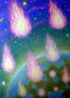 188 Flammeherrer nedsteg - Lords of Flames Descended. Mål/size 61 x 86 cm. Pris/price: DKK 6.000. fichart@webspeed.dk