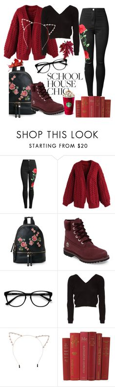 """bl."" by jasminajan ❤ liked on Polyvore featuring WithChic, Chicwish, Urban Expressions, Timberland, EyeBuyDirect.com, Ballet Beautiful and Cara"