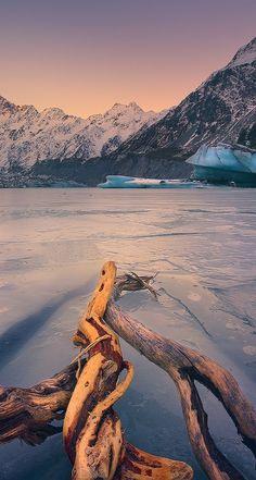 A frozen Hooker Glacier Lake, New Zealand
