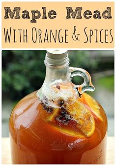 Maple mead, also called acerglyn, is made by replacing some of the honey with pure maple syrup. Here is a one gallon maple mead recipe fermented with orange and spices! Mead makers and home brewers will love this easy and delicious mead recipe! Homemade Wine Recipes, Homemade Liquor, Homemade Alcohol, Brewing Recipes, Beer Recipes, Homebrew Recipes, Coffee Recipes, Beer Brewing, Home Brewing