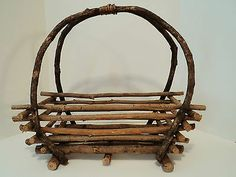 """Vintage Primitive Country Handmade Twig Basket Home Decorative Piece 16"""" Tall x 18 1/2"""" Wide x 9"""" Deep *Variety on a Budget - Check us out, New items listed every week! www.stores.eBay.com/variety-on-a-budget"""