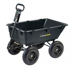 Gorilla Carts Heavy-Duty Garden Poly Dump Cart with Convertible Handle, Capacity, by Bed, Black Finish Lawn And Garden, Garden Tools, Garden Ideas, Garden Gadgets, Garden Club, Garden Inspiration, Yard Cart, Garden Wagon, Convertible