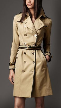 Burberry London long cotton gabardine leather detail trench coat