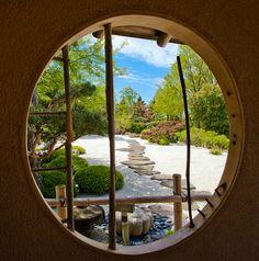 Zen Garden as seen frrom the window of the gardens shed at the Chicago Botanic Garden.