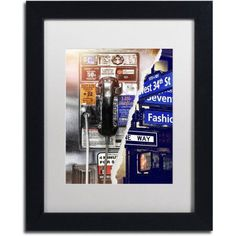 Trademark Fine Art Phone me to New York Canvas Art by Philippe Hugonnard White Mat, Black Frame, Size: 16 x 20