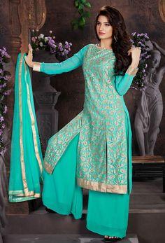 Semi Stitched Sea #Green #Achkan Style #Salwar #Kameez #nikvik  #usa #designer #australia #canada #freeshipping #pakistani #suits