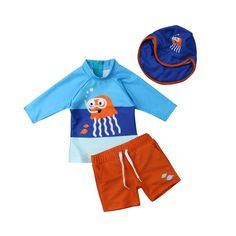Havaii Kids Baby Boys Full Cover Swimwear Swimsuits Swim Suit Cap Tops Pants US