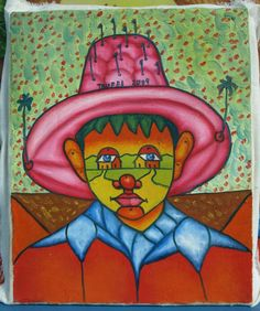 Original folk naive abstract painting Boy with a pink hat oil on canvas by Celso Trufel 8 x 10 Dominican art decor Free Shipping (120.00 USD) by MyBeachStore