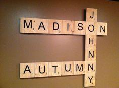 Custom Scrabble Letter Wall Art by EleganceInWords on Etsy TOO CUTE!