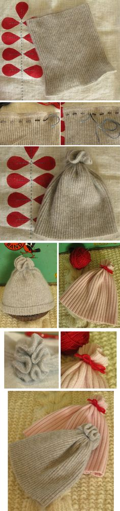 DIY cashmere baby hat; repurposed from neck part of cashmere turtleneck sweater