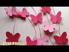 10 Guirnaldas de papel express | Manualidades Diy Butterfly Decorations, Kids Party Decorations, Origami Butterfly, Butterfly Crafts, Diy Paper, Paper Crafts, Diy Crafts, Paper Butterflies, Paper Flowers