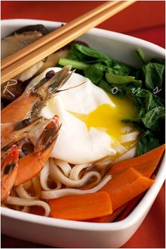 Recipe: Japanese Udon Noodle Soup with Prawns and Poached Egg